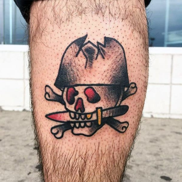 Pirate Skull Guys Small Traditional Leg Tattoos