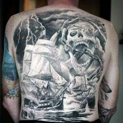 Pirate Skull Tattoo For Men On Back