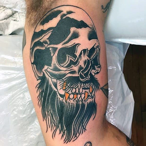 Pirate Skull With Gold Teeth Mens Traditional Inner Arm Bicep Tattoos