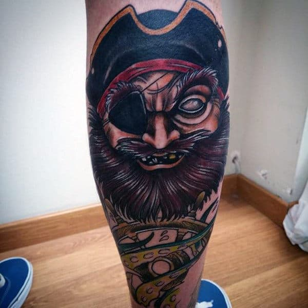 Pirate Sleeve Tattoo For Men On Legs