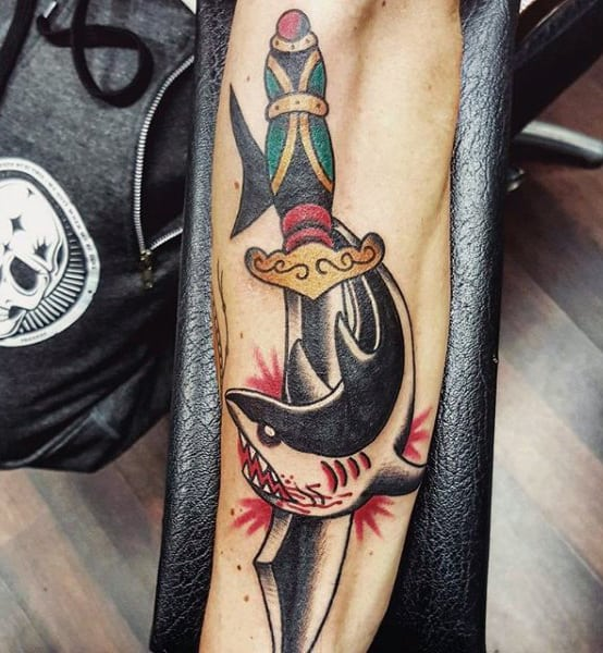 Pirate Sword Tattoo For Males With Shark