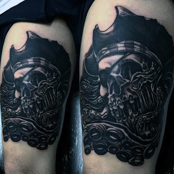Pirate Themed Sleeve Men's Tattoos On Legs
