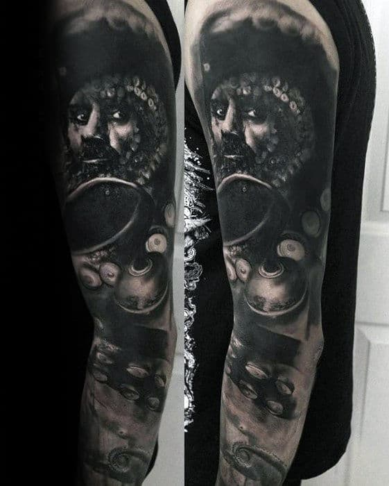 Pirate With Hook Awesome Guys Watercolor Sleeve Tattoos