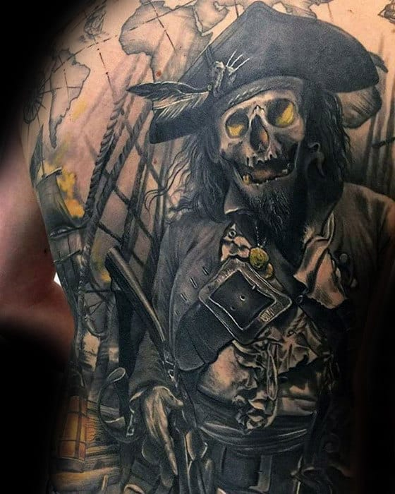 Pirate With Map Guys 3d Cool Back Tattoos