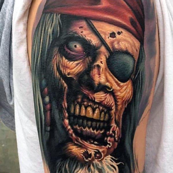 Pirate Zombie Male Upper Arm Tattoos