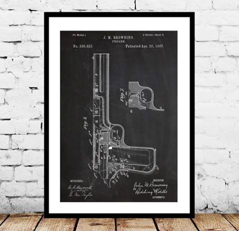 Pistol Blueprint Mens Bachelor Pad Decor Framed Art Ideas