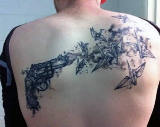 Pistol Tattoos For Men On Back With Birds