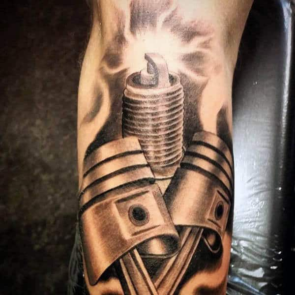 Piston And Spark Plug Tattoos For Men