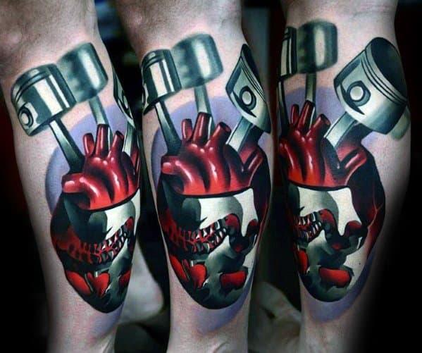 Pistons 3d Heart Tattoo Design Ideas For Men