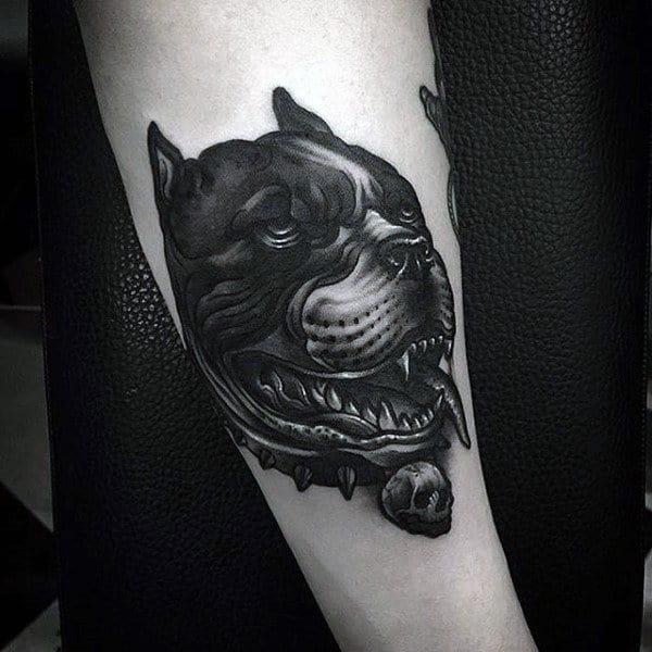 Pitbull Dog Animal Male Black Ink Tattoos On Arm