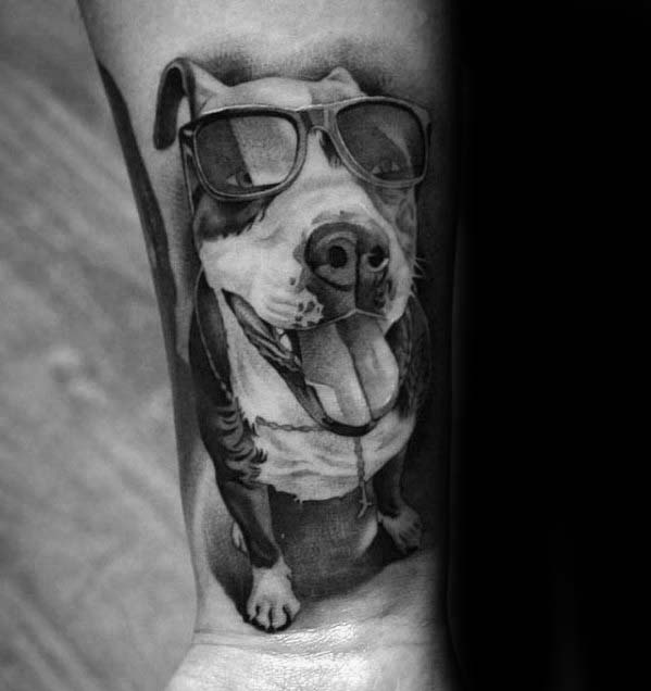Pitbull Dog With Sunglasses Badassmens 3d Inner Forearm Tattoo