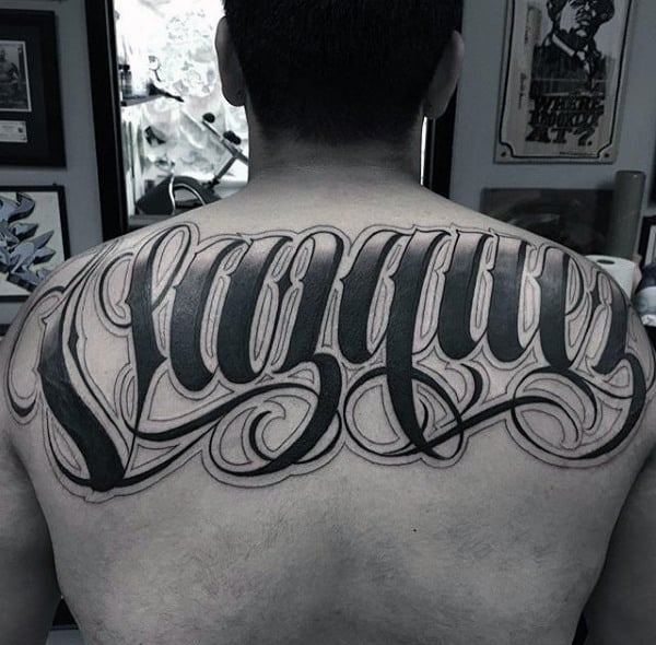 Pitch Black Lettering Tattoo Mens Back