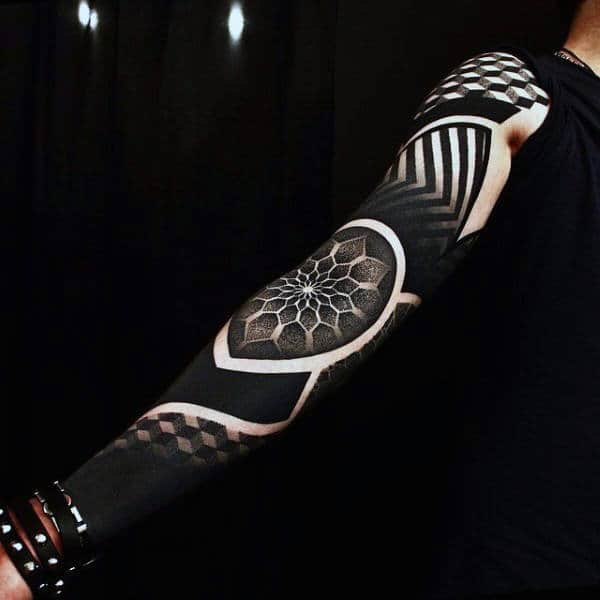 Pitch Black Pattern Tattoo With Flowers Male Full Sleeves
