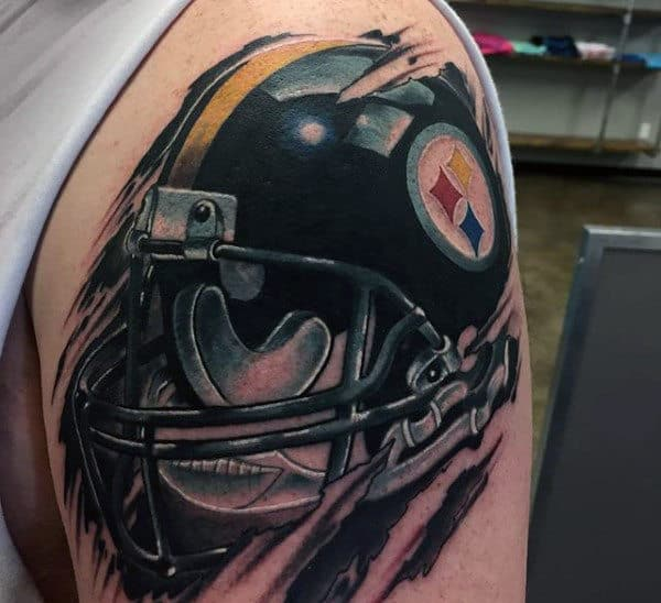 Pitsburg Steerls Mens Football Helmet Upper Arm Tattoo With Torn Skin Deisgn