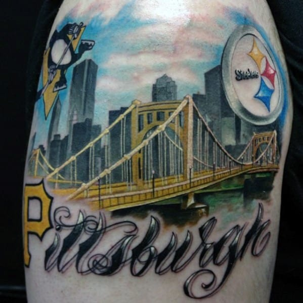 Pittsburgh Steelers City Skyline Mens Upper Arm Tattoos