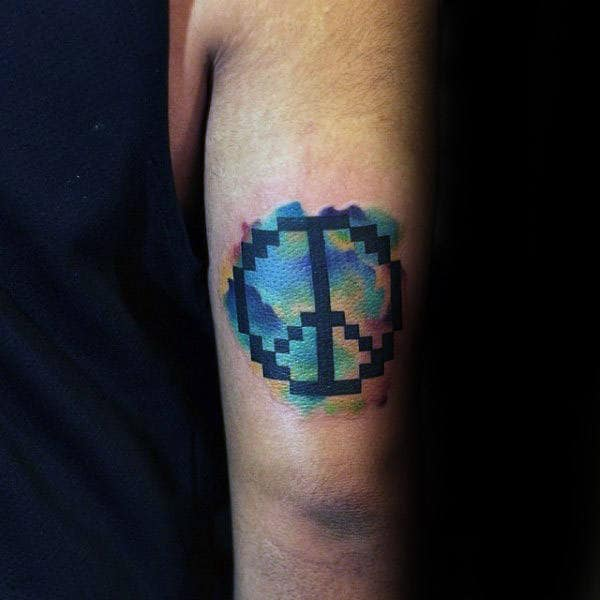 Pixalated Style Guys Peace Sign Watercolor Tricep Tattoo