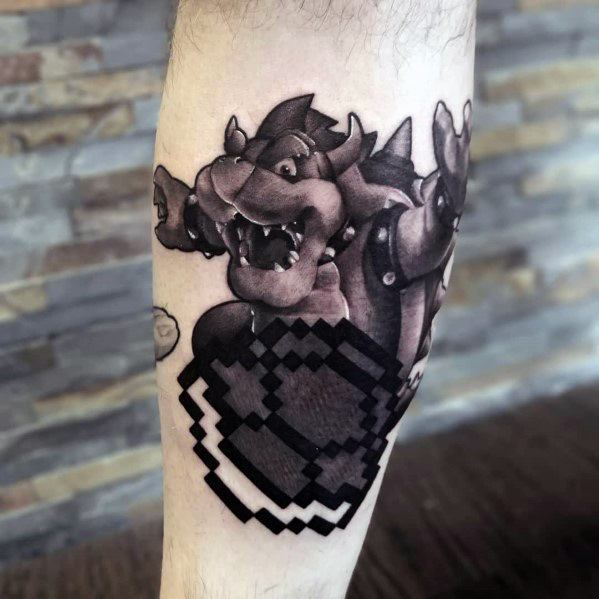 Pixel Black And Grey Bowser Tattoo Ideas For Men