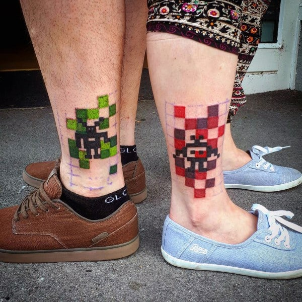 Pixel Couples Tattoos On Legs