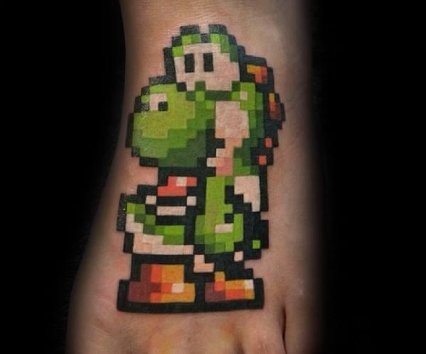 Pixel Foot Male Yoshi Nintendo Tattoo