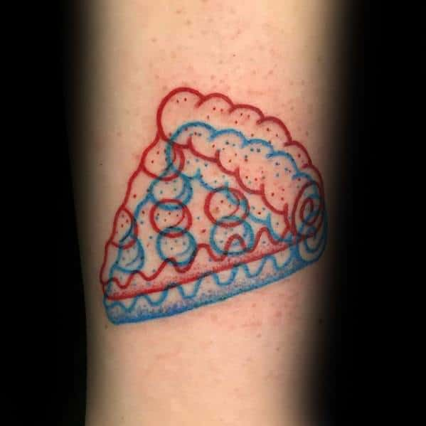 Pizza 3d Red And Blue Ink Small Creative Arm Tattoo