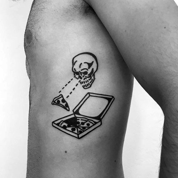 Pizza Box With Skull Guys Simple Rib Cage Side Tattoo