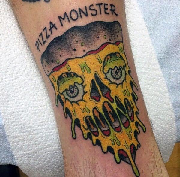 Pizza Monster Modern Mens Creative Tattoo On Arm