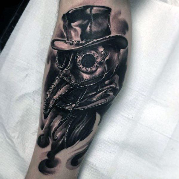 Plague Doctor Tattoo Designs For Guys On Leg