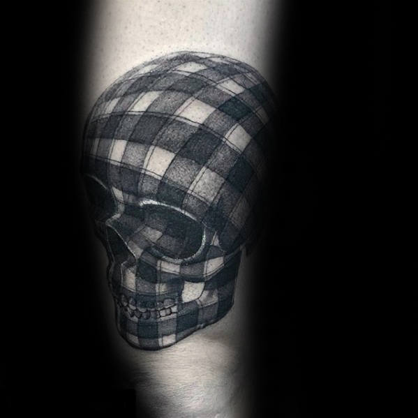 Plaid 3d Skull Mens Leg Tattoo