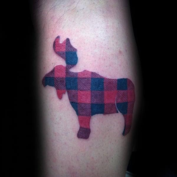 Plaid Design Moose Leg Calf Tattoos For Guys