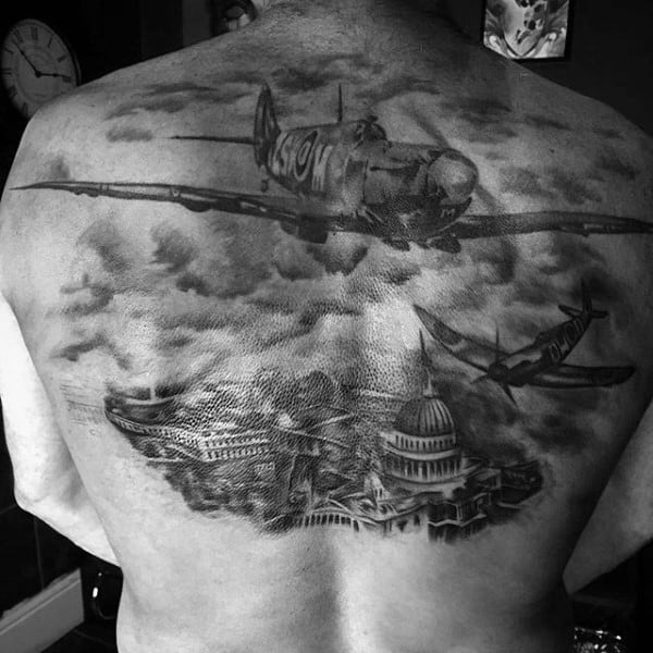 Plane Flying Over City Ww2 Mens Shaded Back Tattoo