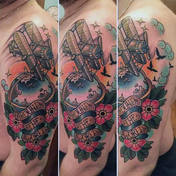 Plane Overing Over The Globe With Banner Mens Arm Tattoo Designs Old School