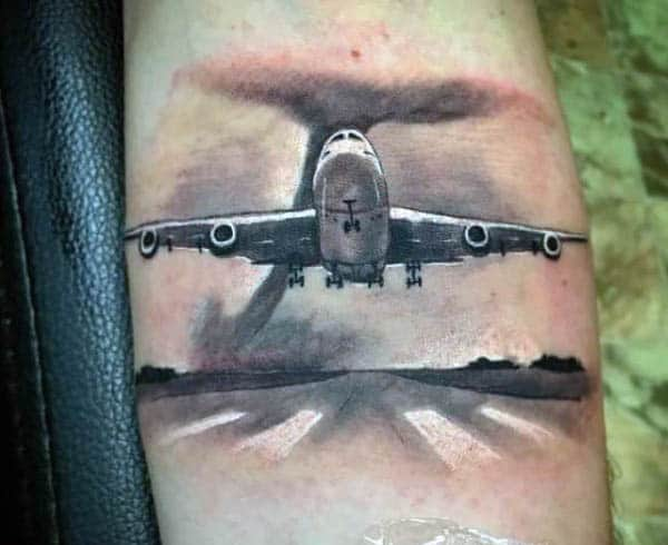 Runway Plane Tattoos For Men