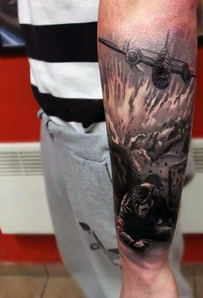 Plane With Battlefield Ww2 Forearm Sleeve Tattoos For Males