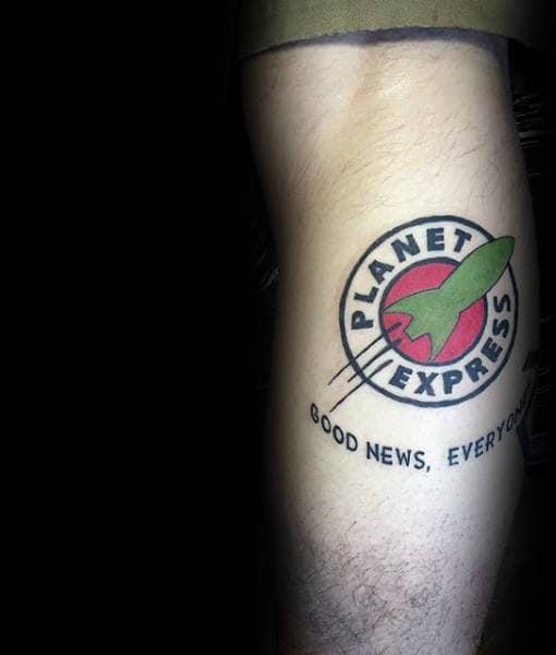 Planet Express Logo Male Futurama Tattoos