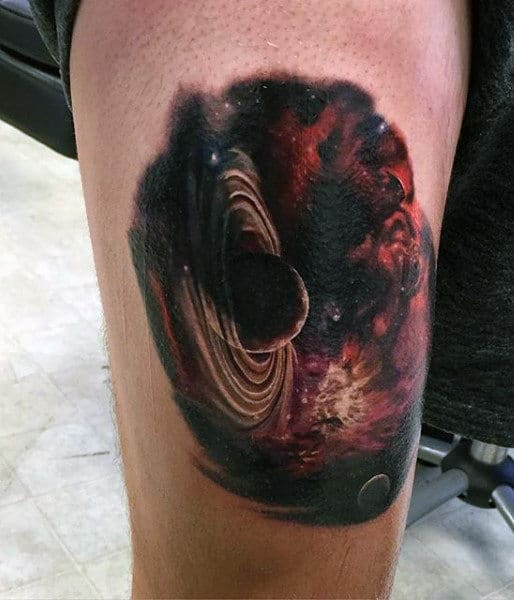 Planet Rings Sky Tattoos For Guys On Leg