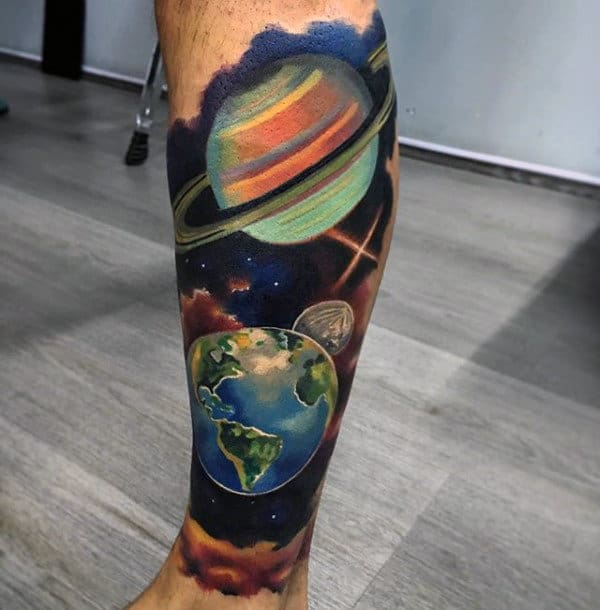 Planets Artistic Mens Leg Sleeve Tattoos