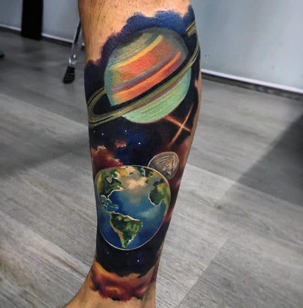 Planets Artistic Mens Leg Sleeve Tattoos