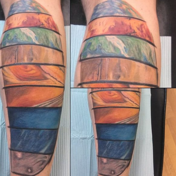 Planets Surface Texture Tattoo On Calves For Men
