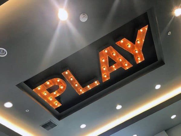Play Bulb Light On Ceiling Gaming Man Cave