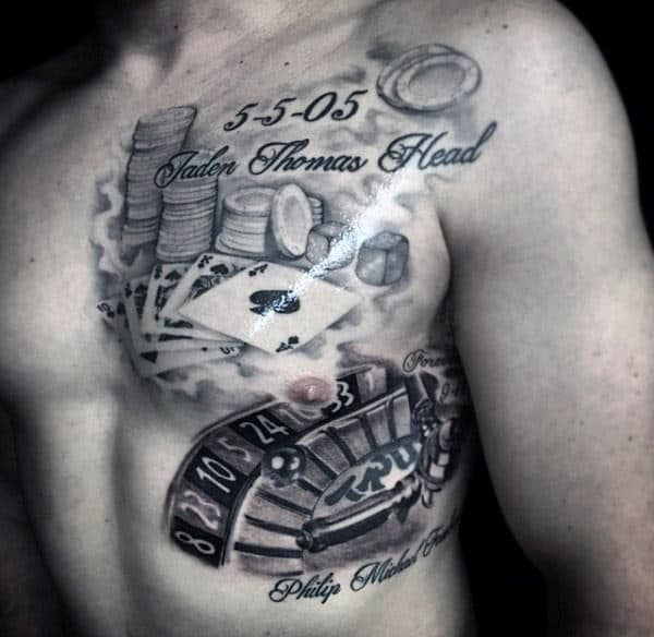 Playing Cards Memorial Mens Chest Tattoo