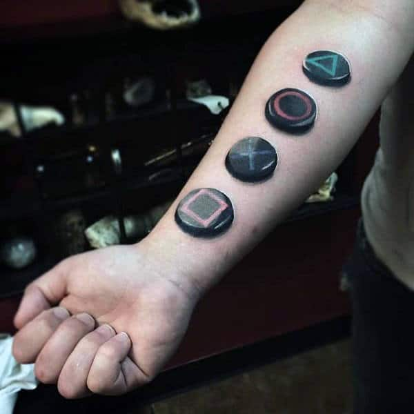 Playstation Buttons Video Game Tattoo For Guys On Inner Forearm