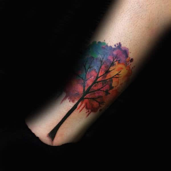 Plethora Of Colors Watercolor Tree Tattoo Male Forearm