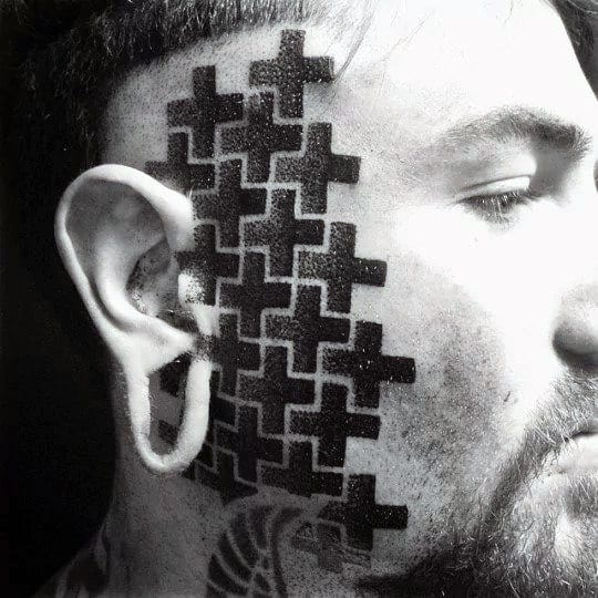 Plus Sign Pattern With Dotwork Design Guys Face Tattoos
