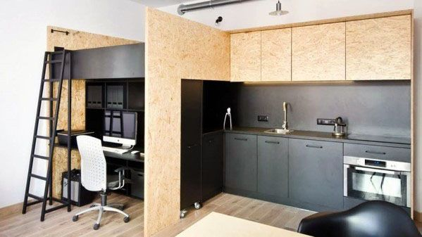 Plywood Bed Above Kitchen Studio Apartment