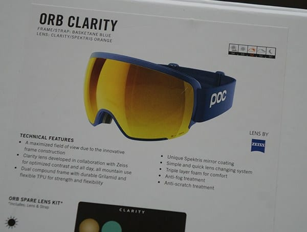 Poc Orb Clarity Ski Snowboard Goggles Details Box