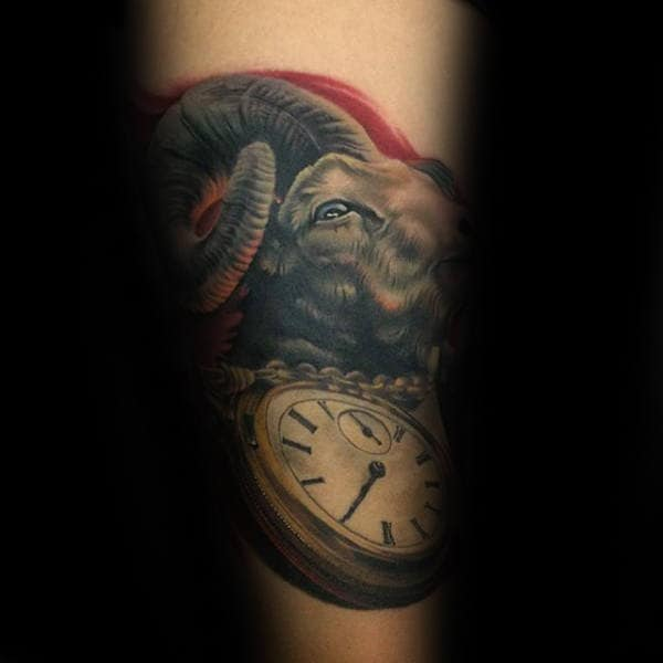 Pocket Watch 3d Mens Goat Arm Tattoos