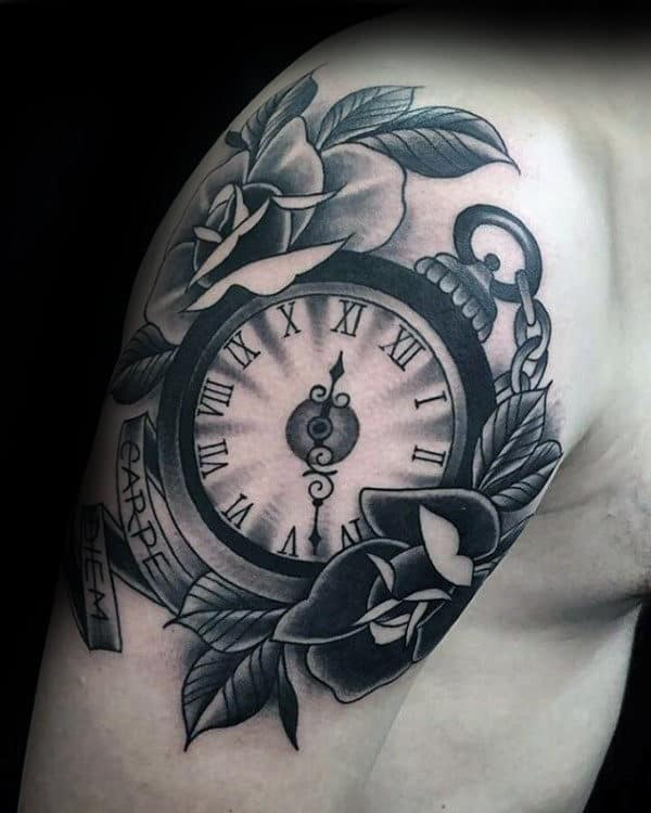 Pocket Watch Black Rose Flower Male Traditional Tattoo Ideas On Upper Arm