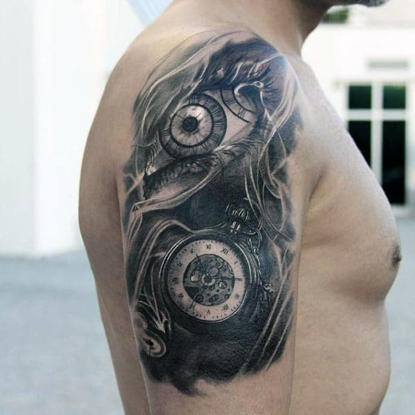 Pocket Watch Cool Arm Grey And Black Guys Tattoo Ideas