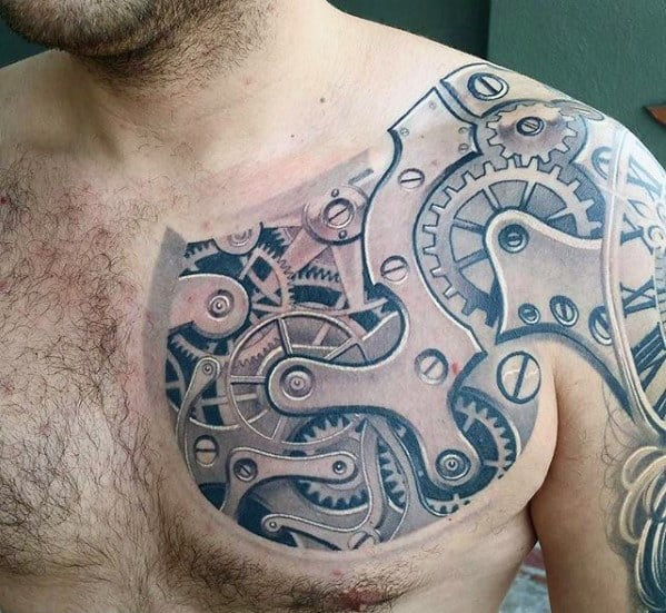 Pocket Watch Gears Guys 3d Shoulder And Chest Tattoo