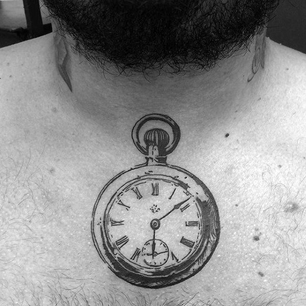 Pocket Watch Guys Small Upper Chest Tattoo Ideas